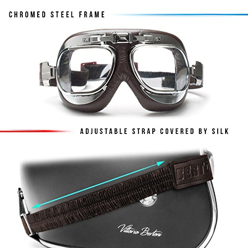 c99d6ccd5d7 Vintage Motorcycle Goggles with Antifog and Anticrash Squared Lenses -  Chromed Steel Frame - by Bertoni