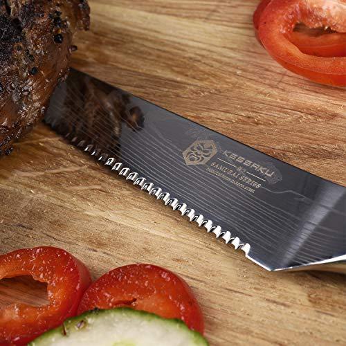 Kessaku Steak Knife 4 Piece Set - Samurai Series - Japanese Etched High Carbon Steel, 5-Inch by Kessaku (Image #3)