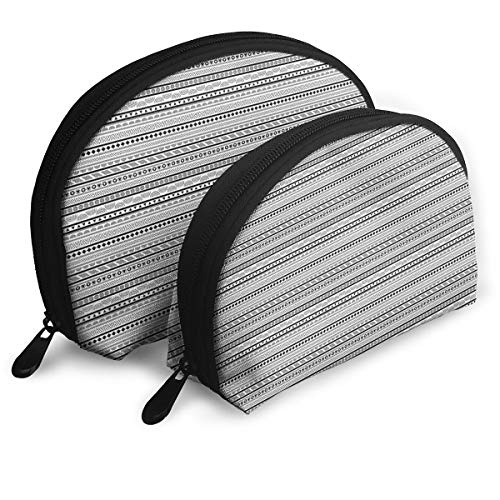 (Shell Shape Makeup Bag Set Portable Purse Travel Cosmetic Pouch,Geometric Arrangement Oriental Triangles Rhombuses Bullseye Circles,Women Toiletry Clutch)