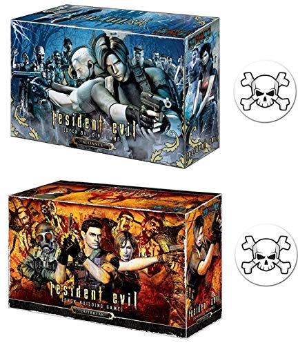 Bundle of Resident Evil Deck Building Game Alliance and Outbreak Expansion Plus 2 Skull Buttons