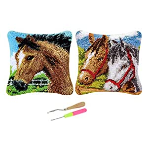 D DOLITY 2 Sets Lovely Horses Latch Hook Kits DIY Pillow Cover Needlework Craft Home Decoration Gifts