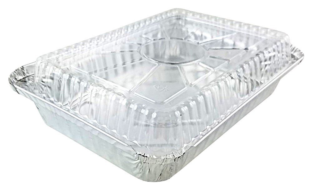 Pactogo 1 1/2 lb. Oblong Shallow Aluminum Foil Take-Out Pan with Clear Dome Lid Disposable Containers 8.44'' x 5.94'' x 1.25'' (Pack of 500 Sets)
