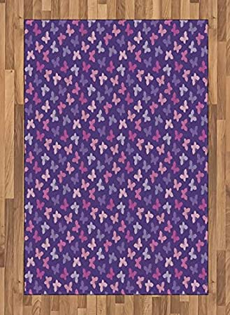 Amazon Com Lunarable Pink And Purple Area Rug Butterfly Childish