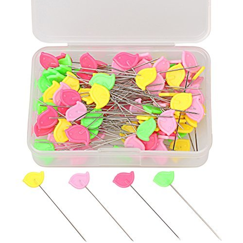 (Color Scissor 100 Pieces Flat Head Straight Quilting Pins for Sewing DIY Projects Dressmaker Jewelry Decoration, Assorted Colors, Yellow, Green, Red, Pink)