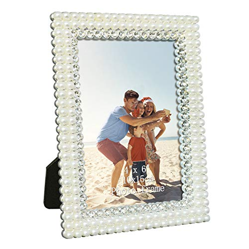 Amazing Roo 4x6 Picture Frame Tabletop Photo Frame for Family Lined White Pearl and Silver Rhinestones Vertical