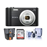 Sony Cyber-shot DSC-W800 Digital Camera, 20.1MP - Bundle With 16GB Class 10 SDHC Card, Cleaning Kit, Camera Case from Sony