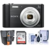 Sony Cyber-shot DSC-W800 Digital Camera, 20.1MP - Bundle With 16GB Class 10 SDHC Card, Cleaning Kit, Camera Case