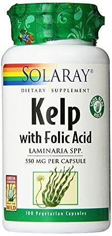 Solaray Kelp with Folic Acid 550 mg 100 Capsules by Solaray - Solaray Kelp