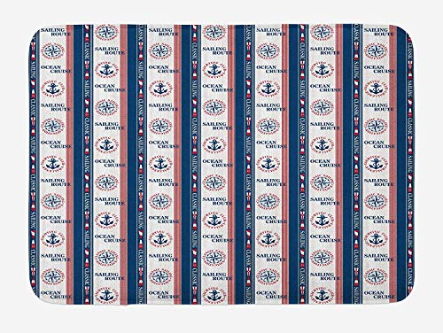 Weeosazg Compass Bath Mat, Ocean Cruise Sailing Route Yatching Club Icons on Vertical Navy Borders, Plush Bathroom Decor Mat with Non Slip Backing, 23.6 W X 15.7 W Inches, Navy Blue Red White]()