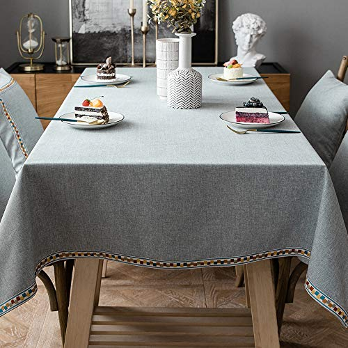 JZY Heavy Duty Cotton Linen Table Cloth for Rectangle Table Farmhouse Tablecloth for Dining Table Dust-Proof Table Cover for Tabletop Decoration (55