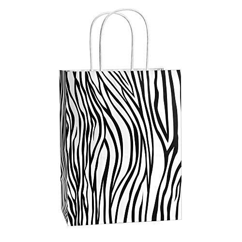 Zebras White Black Stripes - Gift Bags 25Pcs 8x4.75x10.5 Inches BagDream Shopping Bags, Paper Bags, Kraft Bags, Retail Bags, Holiday Party Bags, Zebra Stripe Paper Bags with Handles, Zebra Print Gift Bags