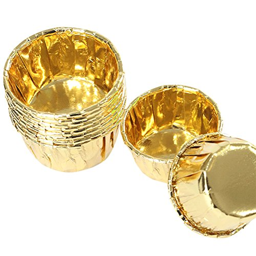 Star Cup Tin - Gold Foil Metallic Paper Baking Cups Muffin Cups Cupcake Liners 50-Count Cake Baking Cups for Birthday, Wedding, Party (Gold)