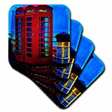 3dRose cst_55934_2 British Red Telephone Boxes Blue-Soft Coasters, Set of 8