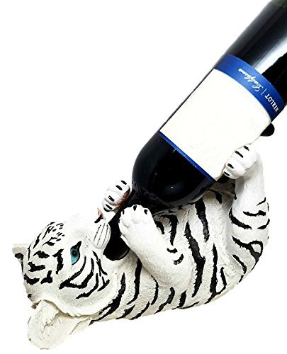 KITCHEN DECOR GIFT WHITE BENGAL TIGER OIL WINE BOTTLE HOLDER FIGURINE STATUE (Wine Holder Bottle Tiger)