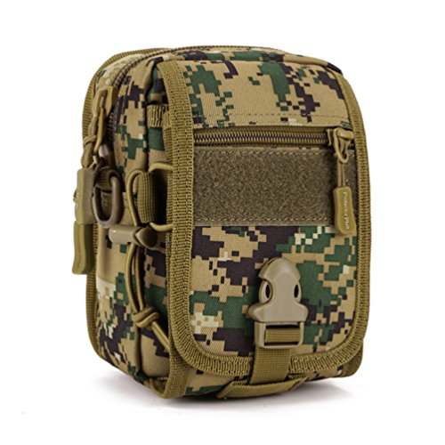 UNISTRENGH Tactical MOLLE Phone Magazine Pouch Military Small Velcro Belt Pouches Sling Chest Daypack Shoulder Bag Gear Duty Pack for Outdoor Hunting Vest Backpack (Jungle Digital Camo) ()