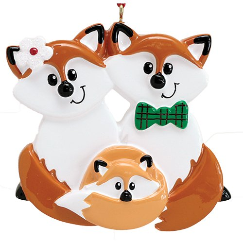 (Personalized Red Fox Family of 3 Christmas Tree Ornament 2019 - Cute Parent Child Hug Together Winter Eve Holiday Grandkid Gift Tradition New Mom Dad Baby First Gift Year - Free Customization)