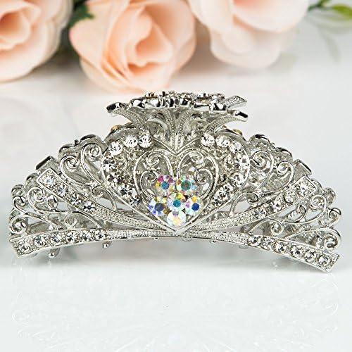 Beautyxyz Woman's new heart design XLarge 4 inch metal rhinestones hair clip claws (silver) 商品カテゴリー: ヘアアクセサリー [並行輸入品]