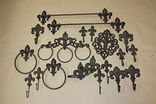 Deluxe Fleur De Lis Bath Accessories Collection Bundle 20 items, Marseille by Cast Iron Home Decor Collectibles