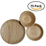 CaterEco Round Palm Leaf Plates Set (75 Pack) | (25) Dinner Plates, (25) Salad Plates and (25) Bowls | Ecofriendly Disposable Dinnerware | Heavy Duty Biodegradable Party Utensils