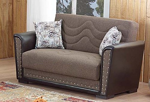 BEYAN Toronto Collection Convertible Love Seat with Storage Space and Trim,  Includes 2 Pillows, Light Brown