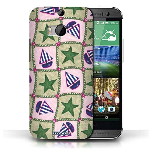 Etui / Coque pour HTC One/1 M8 / Vert/Bleu conception / Collection de Bateaux étoiles