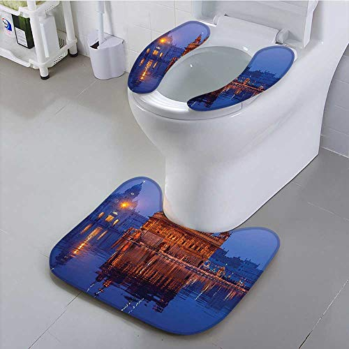 Bath 1 Light Ripple (Philiphome Universal Toilet seat at Night City Lights Holy Shrine Worship for Men and Women Equally Picture Convenient Safety and Hygiene)
