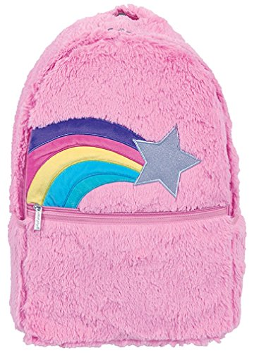 iscream Girls' Shooting Star Furry Fun Backpack for School and Travel with Interior Laptop Pocket