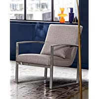 Leonard LCLNCHGR Contemporary Accent Chair, One Size, Grey Fabric