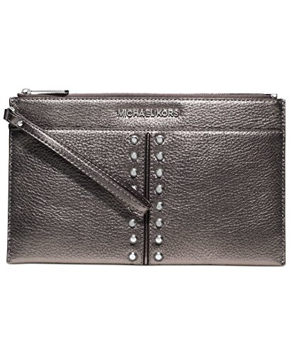 Michael Kors Astor Chain Gunmetal Pewter Leather Gold Studded Wrist Zip Clutch Bag