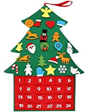 Kekilo Felt Christmas Tree, 3.1ft DIY Christmas Tree Fabric Advent Calendar with Pockets and 24pcs Ornaments for Kids, Xmas Gifts, New Year Door Wall Hanging Decorations (New Chrimas Tree)