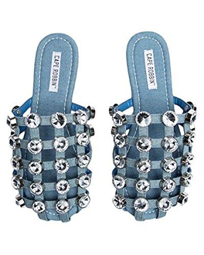 8.5, Denim Blue CAPE ROBBIN Coma-17 Jeweled Mule Caged Flat Slip on Fashion Slides Sandal