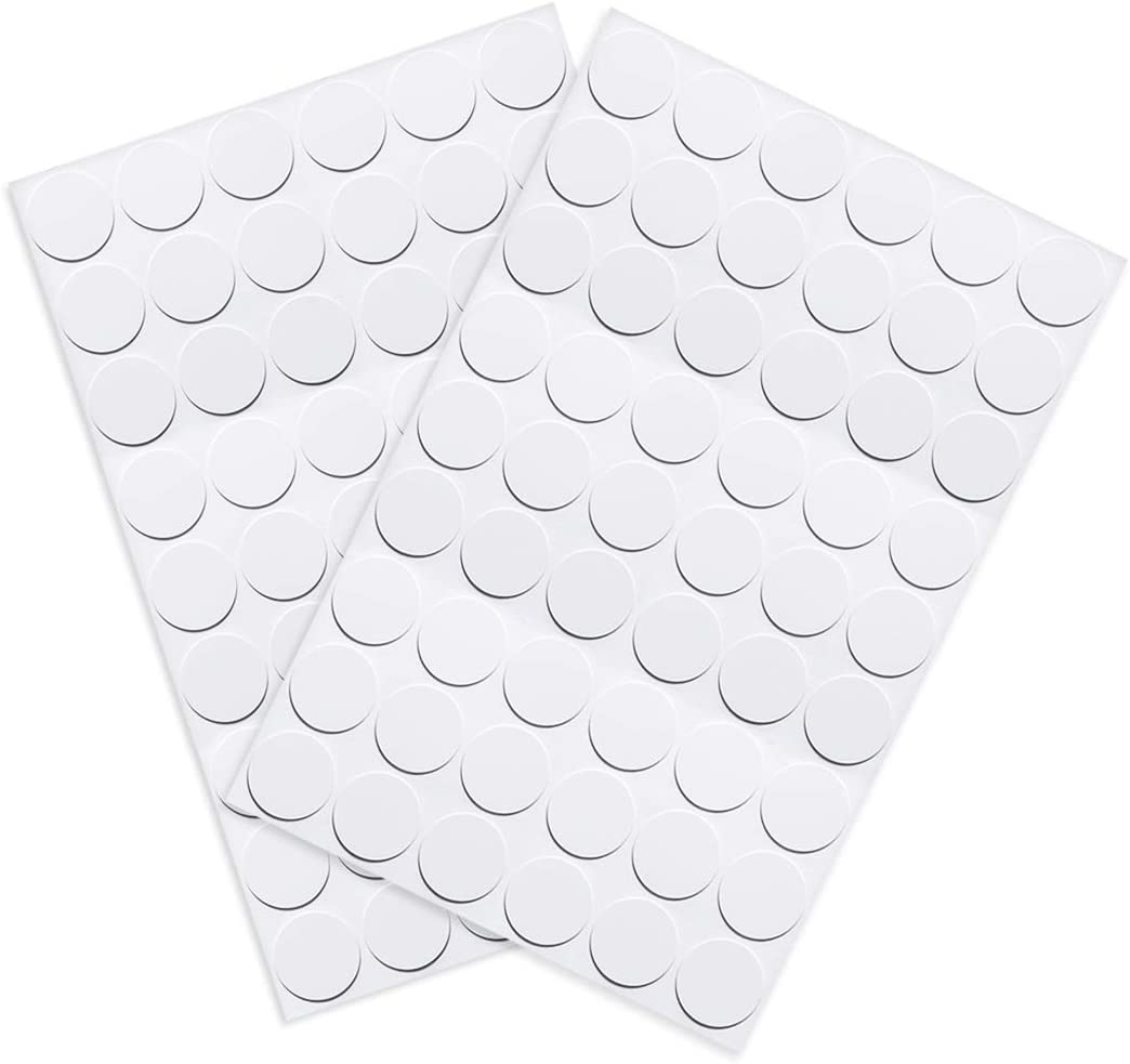 uxcell Screw Hole Covers Stickers Textured Plastic Self Adhesive Stickers for Wood Furniture Cabinet Shelve Plate 21mm Dia 108pcs in 2Sheet White, PC-01