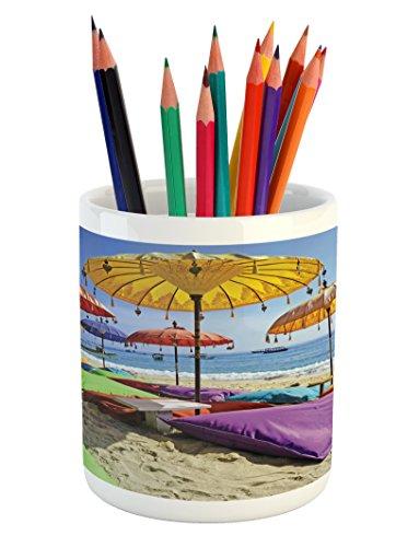 - Lunarable Balinese Pencil Pen Holder, Pristine Beach Bathed by The Bali Sandy Seashore Daytime Umbrellas Pillows Leisure, Printed Ceramic Pencil Pen Holder for Desk Office Accessory, Multicolor