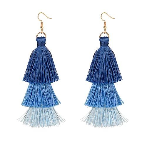 Denim Necklace Womens - FINREZIO 1-2 Pairs Dangle Tassel Earring for Women Girls Boho Earring Gradient (Y:Blue)
