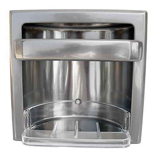 Holder Soap Recessed - LASCO 35-3035 Recessed Soap and Grab Bar Bath Accessory, Plastic Soap Dish Included, Satin Nickel Finish
