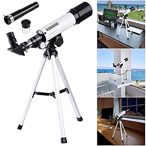 AW 50mm Astronomical Refractor Telescope Refractive Spotting Scope Eyepieces Tripod Kids Beginners (90x Spotting Scope)