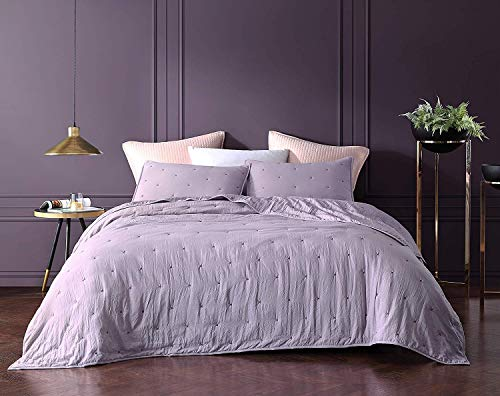 Bourina Reversible Bedspread Coverlet Set - Pre-Washed Microfiber Ultra Soft Lightweight Star Quilted 3-Piece Quilt Set King, Lavender (Lavender Set Quilt)