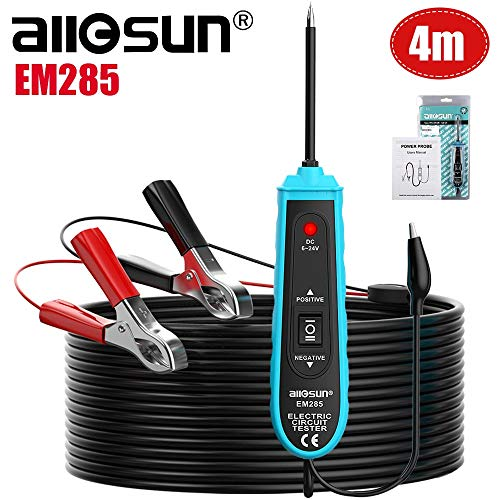 All-Sun EM285 Power Probe Car Electric Circuit Tester Automotive Tools 6-24V DC Support Track and Locate Short Circuits Test for Continuity with The Assistance of its Auxiliary Ground Lead