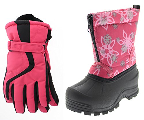 Northside Icicle Snow Boot, Pink/Silver, 2 M US Little Kid with Matching Gloves ()