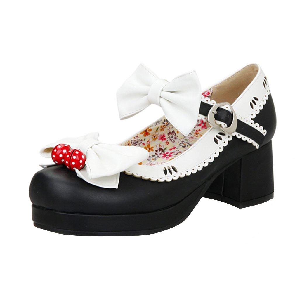 YE Damen Ankle Strap Rockabilly Pumps Chunky Heels Plateau mit Riemchen und Schleife Elegant Süß Schuhe  40 EU|Schwarz