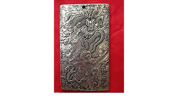 Old Chinese tibet Silver dragon teaches his son Bullion thanka amulet thangka