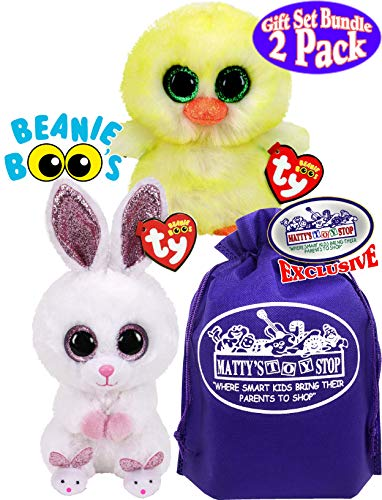 TY Beanie Boos 2020 Easter Collection Slippers (White/Pink Bunny) & Lemon Drop (Yellow Chick) Gift Set Basket Bundle…