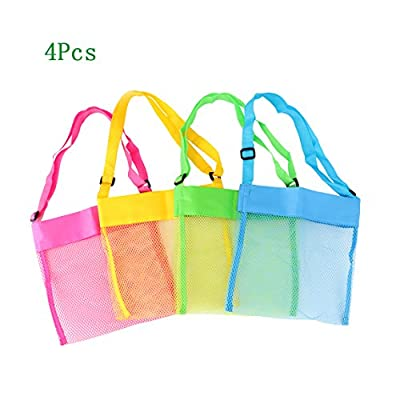 Zamango Beach Mesh Tote Bags Breathable Sea Shell Bags with Adjustable Carrying Straps for Kid's Shell Collection,Swimming equipment Storage,Colorful Set of 4