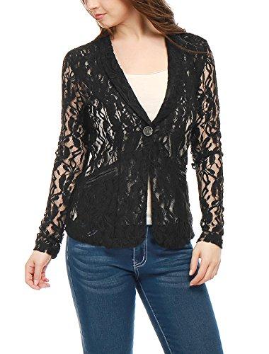 Allegra K Women Shawl Collar Sheer Floral Lace Blazer Jacket XL Black
