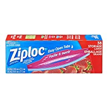 Ziploc Storage Bags Large Value Pack, Easy Open Tabs, 38-Count