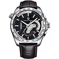 44mm Pagani Design Full Chronograph Leather Sport Mens Quartz Watch