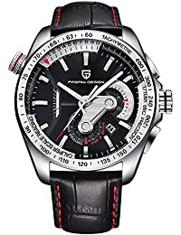 44mm Pagani Design Full Chronograph Leather Sport Mens Quartz Watch