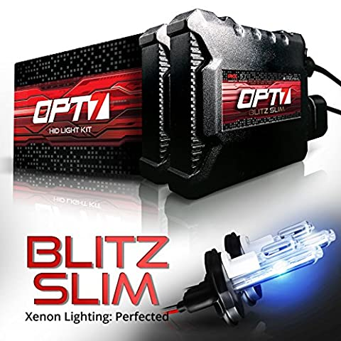 OPT7 Blitz Slim HID Kit - 3.5x Brighter - 4x Longer Life - All Bulb Sizes and Colors - 2 Yr Warranty - 9007 Hi-Lo [6000K Lightning Blue Xenon (Hid Saturn Ion)