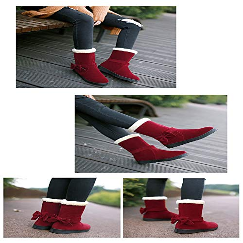 Cotton Cotton Cotton Antiscivolo dstudentessa Scarponi Shirloy Rosso Bow Bow Bow Girl Warm Shoes Sweet wxxqICg4