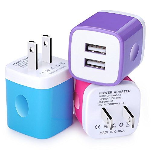 FCC Certified Wall Charger, Power Adapter, NonoUV 3-Pack 2.1A Travel Dual Ports USB Charger Plug Cube for iPhone 8/7/6s / Plus / SE, iPad, Tablet, Samsung Galaxy S8 S7 S6 Edge S5, Note 8 5, HTC, LG (830 Charging Shell Lumia Wireless)